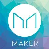 Il creatore MKR ha decentralizzato il logo di vettore di cryptocurrency del blockchain illustrazione vettoriale