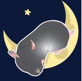 Il criceto del nero di vettore sta dormendo sulla luna illustrazione vettoriale