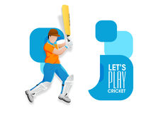Il cricket mette in mostra il concetto con il battitore Fotografie Stock Libere da Diritti