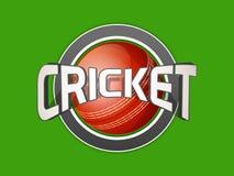 Il cricket mette in mostra il concetto con la palla ed il testo rossi Fotografia Stock
