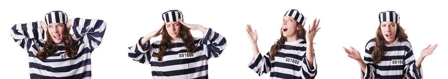 Il criminale di condannato in uniforme a strisce Fotografia Stock Libera da Diritti