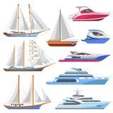 Il crogiolo marino di nave della barca a vela o di navigazione dell'yacht e di crociera del mare vector le icone piane Fotografia Stock Libera da Diritti