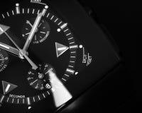 Il cronografo degli uomini di lusso fatto di ceramica alta tecnologia nera Fotografie Stock Libere da Diritti
