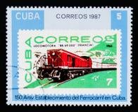 Il cubano timbra #2361, ferrovie cubane - 150th anniversario, circa 1987 Fotografie Stock Libere da Diritti