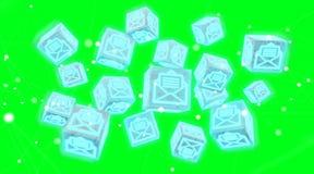 Il cubo di galleggiamento invia con la posta elettronica la rappresentazione dell'illustrazione 3D Fotografia Stock