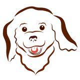 Il cucciolo lanuginoso allegro, l'animale domestico felice, testa, modella le linee ondulate royalty illustrazione gratis