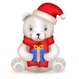 Il cucciolo realistico di 3d Teddy Bear si siede con il regalo del nuovo anno Fotografie Stock Libere da Diritti
