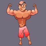 Il culturista maschio atletico divertente del fumetto sta posando royalty illustrazione gratis