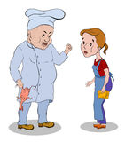 Il cuoco in cappello bianco con un pollo nella sua cameriera di bar della mano rimprovera Fotografie Stock
