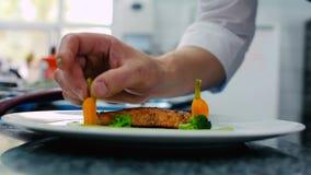Il cuoco che decora il raccordo del pesce sul piatto video d archivio