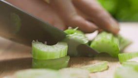 Il cuoco del cuoco unico taglia il sedano sul tagliere stock footage