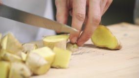 Il cuoco incide lo zenzero dei cuccioli sul bordo di legno dentro la cucina industriale stock footage