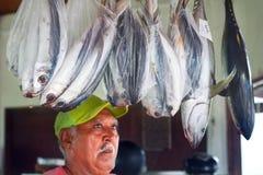 Il cuoco Islander esamina i tonnidi freschi il mercato in Avarua C immagine stock libera da diritti