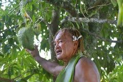 Il cuoco Islander spiega circa i benefici di SoursopFruit sul touri di Eco fotografia stock