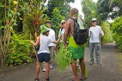 Il cuoco Islander spiega i turisti occidentali circa la natura locale o fotografie stock