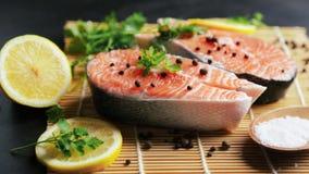 Il cuoco spruzza le bistecche di color salmone con sale video d archivio