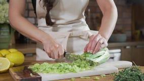 Il cuoco taglia il sedano sul bordo nella cucina, cuoco unico produce l'insalata di verdure, facente dei pasti vegetariani archivi video
