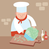 Il cuoco tagliuzza la cucina del ristorante del cavolo Immagini Stock Libere da Diritti
