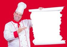 Il cuoco unico capo offre un menu Fotografie Stock Libere da Diritti