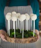 Il cuoco unico che tiene il vassoio di legno con il biscotto bianco schiocca sui bastoni Fotografia Stock