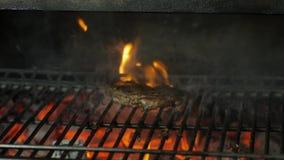Il cuoco unico cucina la carne sulla griglia nel ristorante archivi video