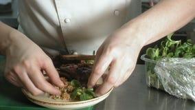 Il cuoco unico decora il piatto saporito, concetto di affari di ristorante video d archivio