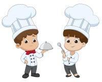 Il cuoco unico del fumetto del bambino sta preparando l'alimento Fotografia Stock