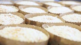 Il cuoco unico di pasticceria passa la spruzzatura della polvere dello zucchero su pasta per il pane dolce di pasqua
