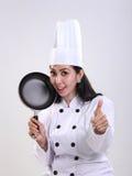 Il cuoco unico felice dà il pollice su Fotografie Stock