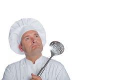 Bello cuoco unico isolato su fondo bianco Fotografia Stock