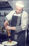 Il cuoco unico prepara il pasto Fotografie Stock
