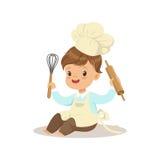 Il cuoco unico sveglio del ragazzino con illustrazione di vettore del matterello e sbatte illustrazione di stock