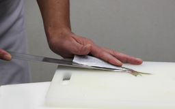 Il cuoco unico taglia il pesce in pezzi di sushi fotografia stock libera da diritti