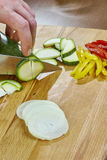 Il cuoco unico taglia le ricette di cottura complete dell'alimento di serie della cipolla del cetriolo Immagini Stock
