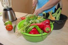 Il cuoco unico taglia le verdure in pasto Preparazione dei piatti Una donna utilizza un coltello e cucina Il ` s della donna pass Fotografie Stock Libere da Diritti