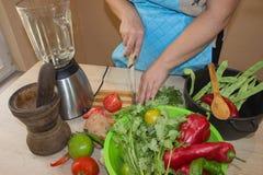 Il cuoco unico taglia le verdure in pasto Una donna utilizza un coltello e cucina Giovane donna che cucina nella cucina casalinga immagini stock libere da diritti