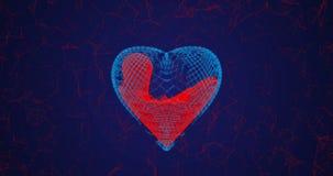 Il cuore consiste delle linee e dei punti riempiti di sangue, anche consistendo delle linee e dei punti, il concetto di guarigion stock footage