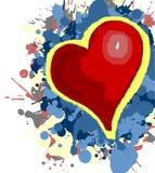 Il cuore del biglietto di S. Valentino con il fondo d'esplosione di amore Immagini Stock