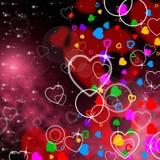 Il cuore del fondo significa il San Valentino e l'affetto Fotografia Stock Libera da Diritti