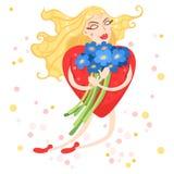 Il cuore della donna vola con i fiori in loro mani Royalty Illustrazione gratis