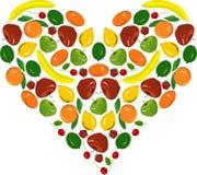 Il cuore della frutta della pittura, ingiallisce le banane, i limoni, mele rosse, serba in cuore, fragola, calce verdi su bianco Immagine Stock