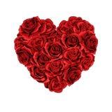 Il cuore delle rose rosse del giorno di biglietti di S. Valentino ha riempito il fondo isolato royalty illustrazione gratis