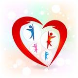 Il cuore di amore della famiglia passa l'immagine di vettore di logo di simbolo Immagini Stock