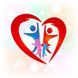 Il cuore di amore della famiglia passa l'immagine di vettore di logo di simbolo Fotografia Stock Libera da Diritti