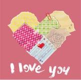 Il cuore di Scrapbooking è fatto di vecchi pezzi di carta d'annata illustrazione di stock
