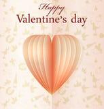 Il cuore di vettore del biglietto di S. Valentino rosa della carta Fotografie Stock