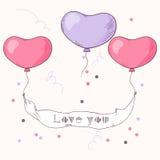 Il cuore disegnato a mano balloons il nastro della tenuta Fotografia Stock