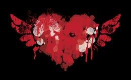 Il cuore e le ali astratti con spruzza di sangue royalty illustrazione gratis