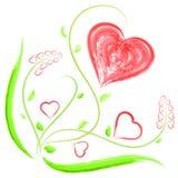 Il cuore ed il fiore per il giorno o le nozze del ` s del biglietto di S. Valentino Fotografia Stock Libera da Diritti