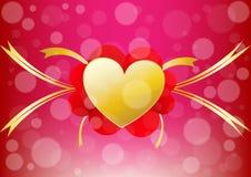 Il cuore ed il nastro di vettore allineano il centro di un backgro di giorno di S. Valentino Fotografie Stock